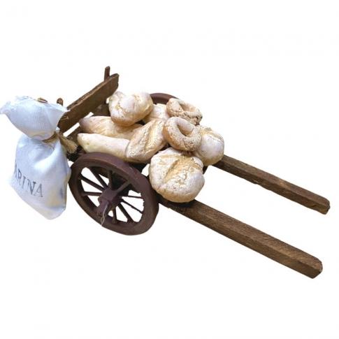 Carretto napoletano con pane per pastori da 7 a 10 cm