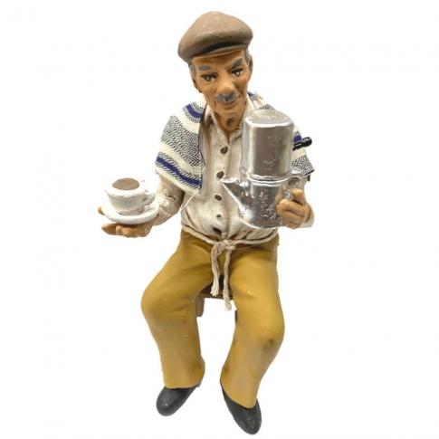 Statuina di Eduardo De Filippo seduto in terracotta 16 cm