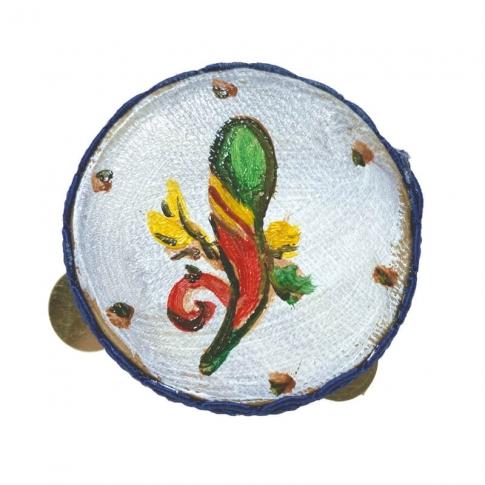 Tamburello con dipinto dell'asso di bastoni 4.5 cm