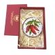 Tamburello da 4.5 cm con dipinto dei peperoncini in scatola regalo