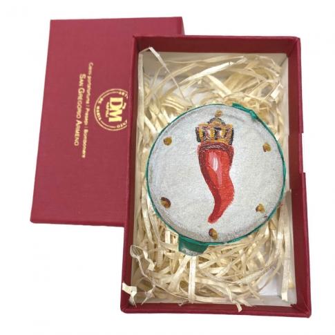 Tamburello da 4.5 cm con dipinto del corno in scatola regalo