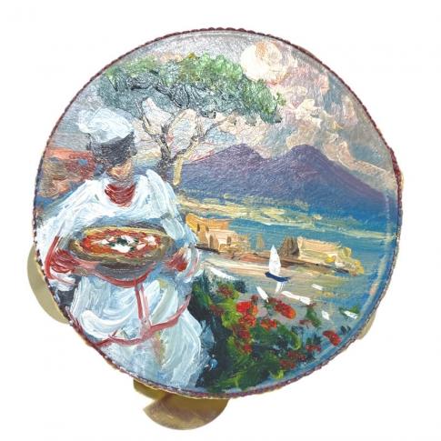 Tamburello in vera pelle con dipinto di Pulcinella 13 cm