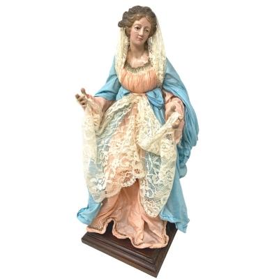 Madonna con occhi in vetro e vestiti in stoffa san leucio 35 cm