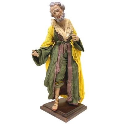 San Giuseppe con occhi in vetro e vestiti in stoffa san leucio 35 cm