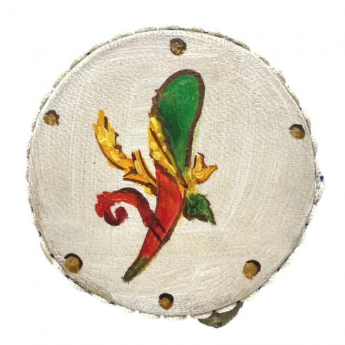 Tamburello con dipinto dell' asso di bastoni 8 cm