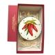 Tamburello da 8 cm con dipinto dei peperoncini in scatola regalo