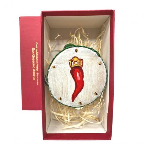 Tamburello da 8 cm con dipinto del corno in scatola regalo