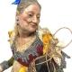 Donna Carmela con occhi in vetro e vestiti in stoffa san leucio 35 cm