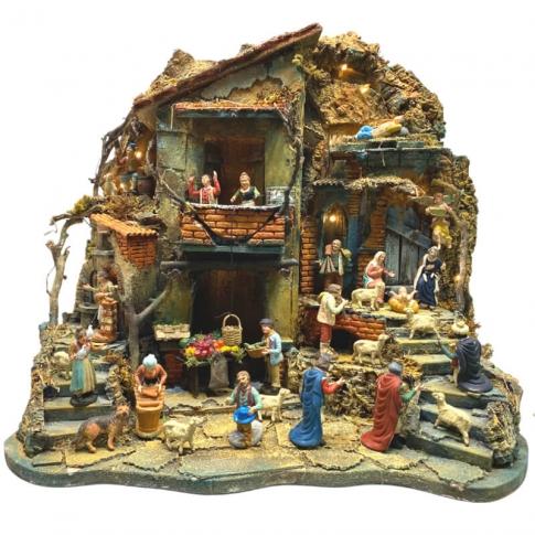 Presepe con tempio completo di pastori, fontana e luci 60 cm
