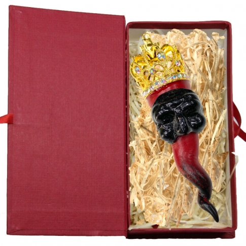 Corno luxury pulcinella in terracotta 13 cm con scatola regalo