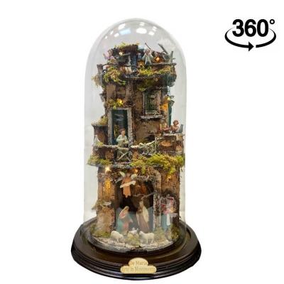 Presepe in campana 40 cm 360 gradi con luci e pastori 6 cm stile 700