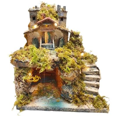 Presepe castello antico con luci 17 cm