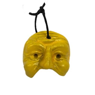 Maschera di Pulcinella gialla in terracotta 3 cm