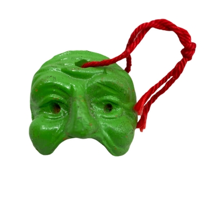 Maschera di Pulcinella verde in terracotta 3 cm