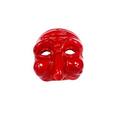 Maschera di Pulcinella rossa in terracotta 3 cm