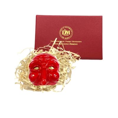 Maschera di Pulcinella 3 cm rossa in scatola regalo