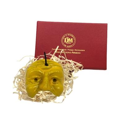 Maschera di Pulcinella 3 cm gialla in scatola regalo