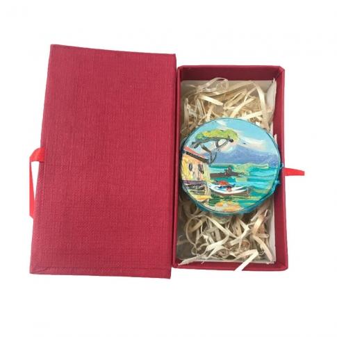 Tamburello da 2.5 cm con dipinto di Napoli in scatola regalo