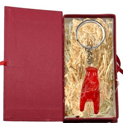 Portachiavi con corna rossa 5 cm in scatola regalo