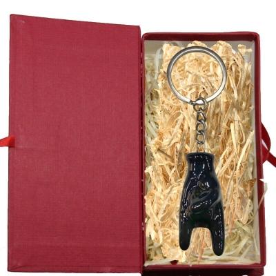 Portachiavi con corna nera 5 cm in scatola regalo
