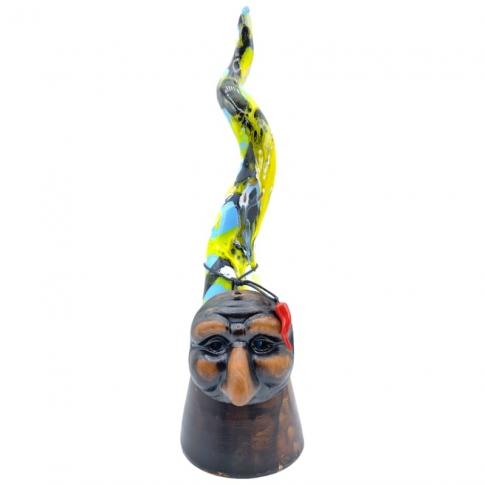 Corno multicolore di Pulcinella in ceramica 30 cm