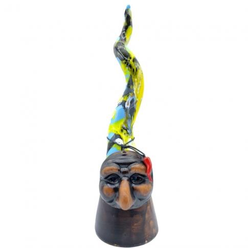 Corno di Pulcinella in ceramica multicolore 40 cm
