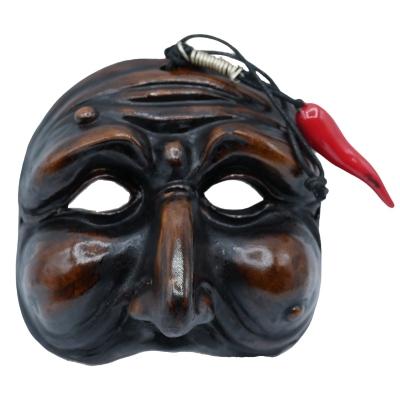 Maschera di Pulcinella antica con corno 15 cm