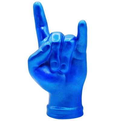 Corna mano portafortuna blu metalizzato in terracotta