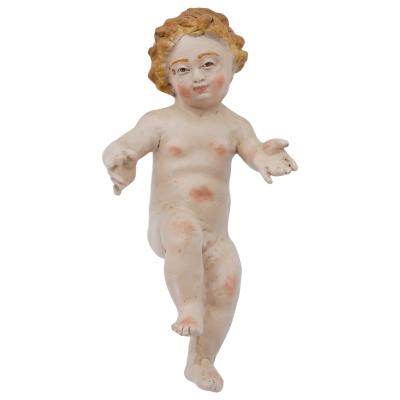 Gesù Bambino napoletano con occhi in vetro per pastori da 30-35 cm