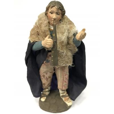 Zampognaro in terracotta con vestiti di stoffa 10 cm