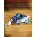 Benino in terracotta con vestiti di stoffa 12 cm
