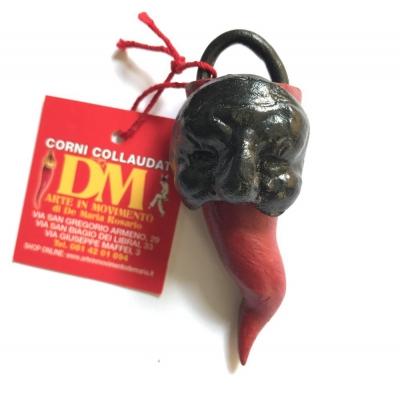 Maschera di Pulcinella con corno in terracotta 9 cm