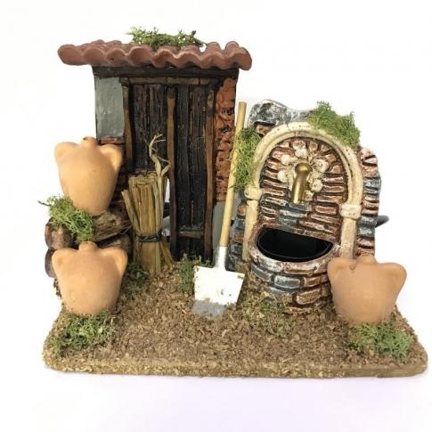 Antica casa con fontana in terracotta 15 cm