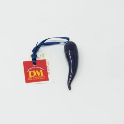 Corno in ceramica blu scuro 6 cm