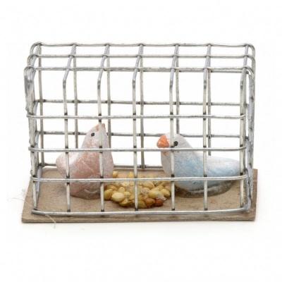 Gabbietta con uccellini per pastori da 7 a 12 cm