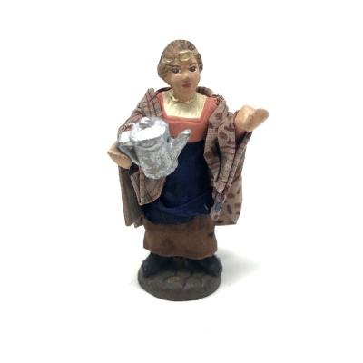 Caffettaia in terracotta con vestiti di stoffa 7 cm