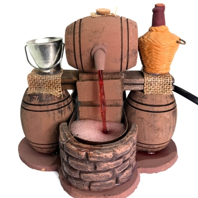 Vinaio in legno presepe fontana scenografia 13 cm