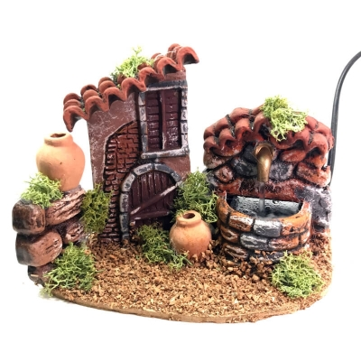 Casa con fontana in terracotta presepe 13 cm