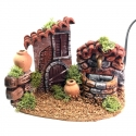 Casa con fontana in terracotta 13 cm