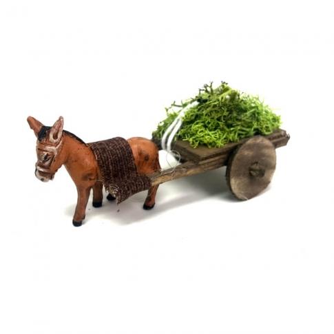 Asino con carretto che trasporta erba 4 cm