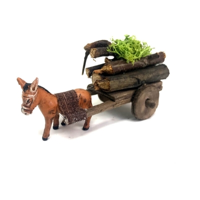 Asino con carretto che trasporta legna 4 cm