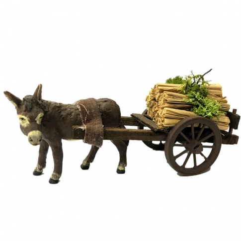 Muletto con carretto che trasporta fascine 10 cm