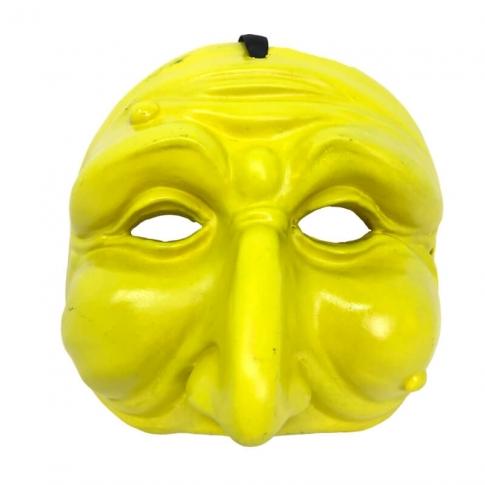 Maschera di Pulcinella gialla 13 cm