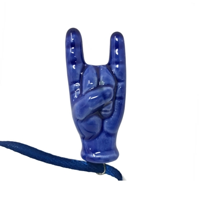 Corna in ceramica blu scuro 5 cm