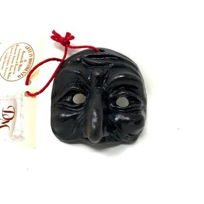 Maschera di Pulcinella in terracotta con magnete 4.5 cm