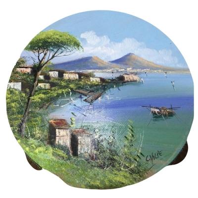 Tamburello in vera pelle dipinto veduta di Napoli 30 cm