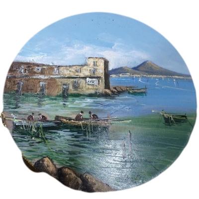Tamburello in vera pelle con dipinto di Pulcinella 30 cm