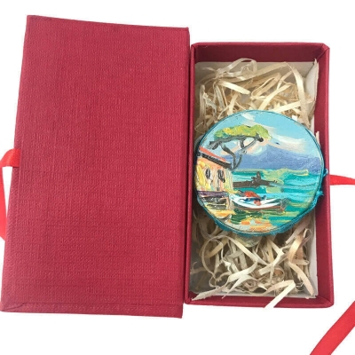 Tamburello da 4.5 con dipinto di Napoli in scatola regalo