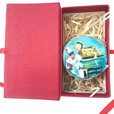 Tamburello da 4.5 con dipinto di Pulcinella in scatola regalo
