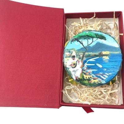 Tamburello da 8 cm con dipinto di Pulcinella in scatola regalo